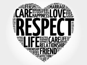 Respect word cloud collage heart concept background